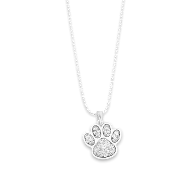 Paw Print Crystal Charm Ball Link Heart Necklace
