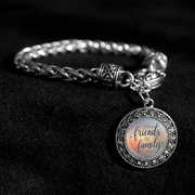Friends Are The Family We Choose Silver Braided Clasp Bracelet