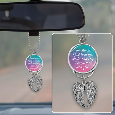 Watercolor Know That Was You Angel Wings Rearview Mirror Charm