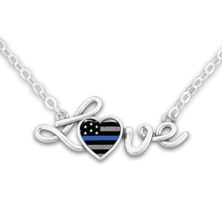 Thin Blue Line Flag Love Necklace