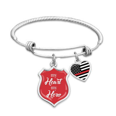 Thin Red Line My Heart My Hero Charm Bracelet
