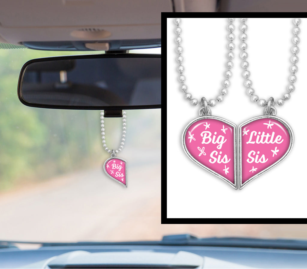 Little Sis Big Sis Heart Half Pair Rearview Mirror Charms