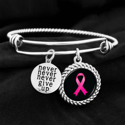 Never Give Up Breast Cancer Ribbon Charm Bracelet