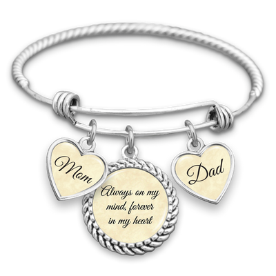 Always On My Mind Forever In My Heart Mom & Dad Charm Bracelet