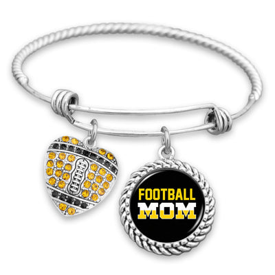 Yellow & Black Football Mom Charm Bracelet