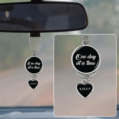 One Day At A Time Personalized Sobriety Date Rearview Mirror Charm