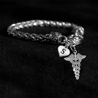 Customizable Letter Crystal Caduceus Silver Braided Clasp Charm Bracelet