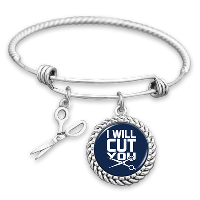I Will Cut You Hairstylist Charm Bracelet