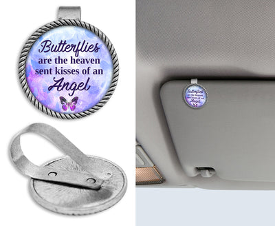 Butterflies Are The Heaven Sent Kisses Of An Angel Purple Circle Auto Visor Clip