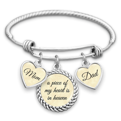 Piece Of My Heart Mom & Dad Charm Bracelet