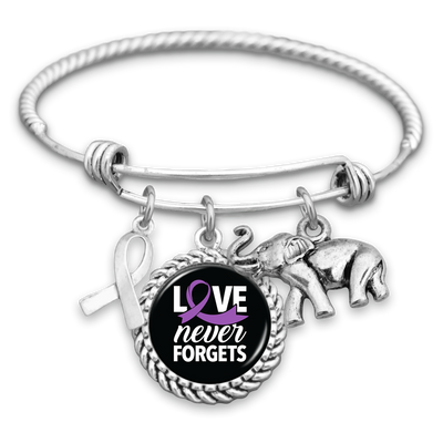 Love Never Forgets Alzheimer's Awareness Charm Bracelet