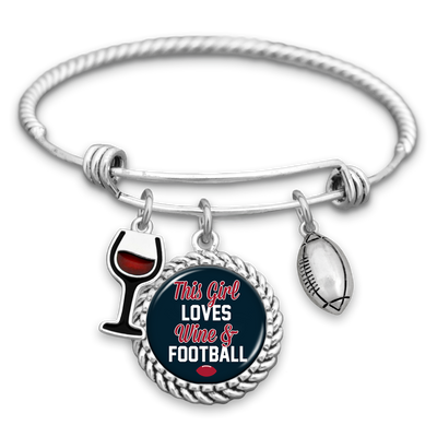 This Girl Loves Wine And Football Houston Charm Bracelet