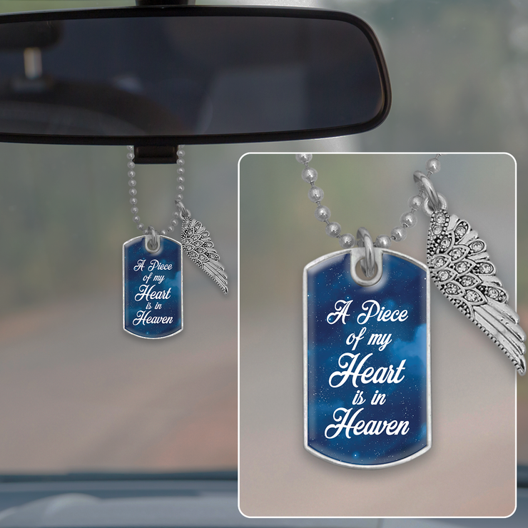 Piece Of My Heart Starry Sky Dog Tag Rearview Mirror Charm