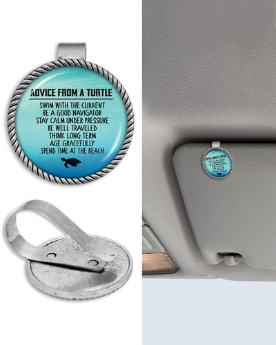 Advice From A Turtle Circle Auto Visor Clip