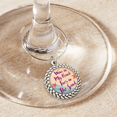 Wine In My Hand, Toes In The Sand Wine Glass Charm