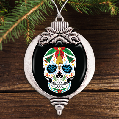 Christmas Sugar Skull Bulb Ornament