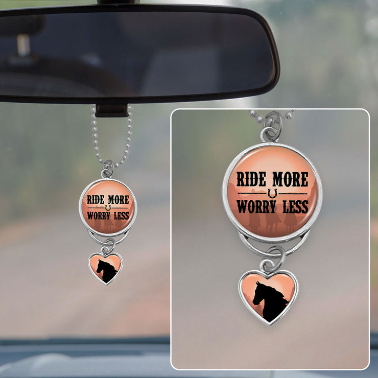 Ride More Worry Less Horse Rearview Mirror Charm