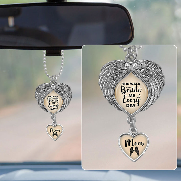 Mom You Walk Beside Me Wings Rearview Mirror Charm