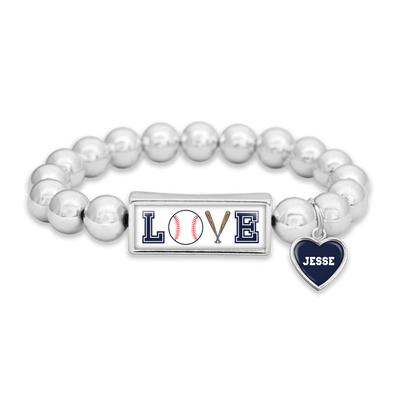 Customizable Baseball LOVE Icons Silver Bead Bracelet