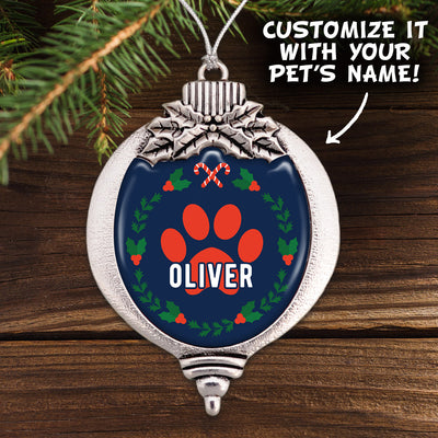 Customizable Pet Name Paw Print Holiday Bulb Ornament