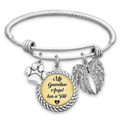 My Guardian Angel Has A Tail Charm Bracelet