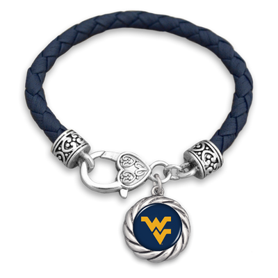 West Virginia Mountaineers Navy Leather Toggle Bracelet