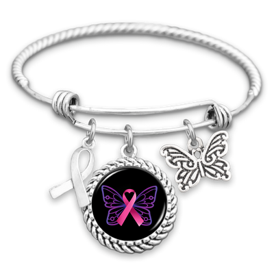 Breast Cancer Butterfly Ribbon Charm Bracelet