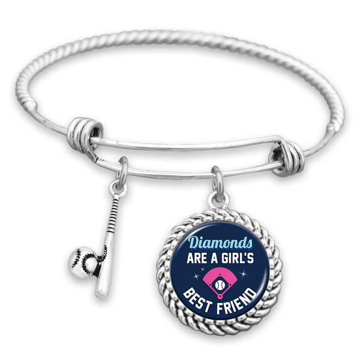 Diamonds Are A Girl's Best Friend Softball Charm Bracelet