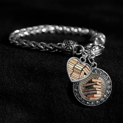 Old Books Silver Braided Clasp Charm Bracelet
