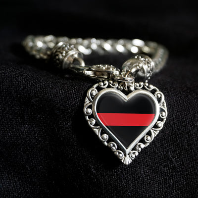 Thin Red Support Line Heart Clasp Bracelet