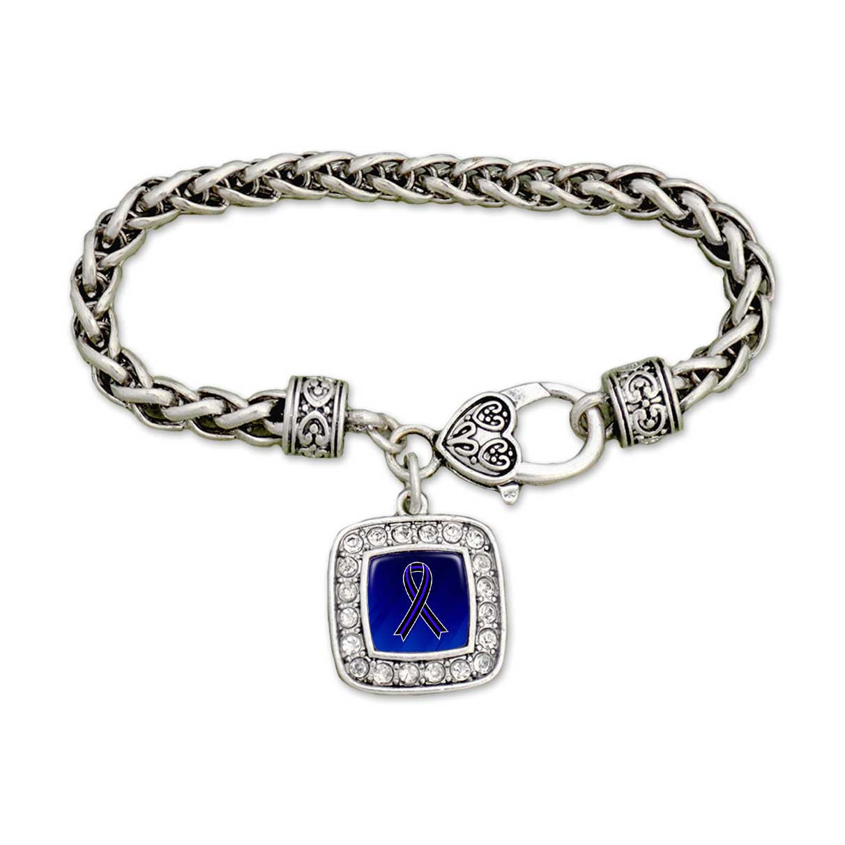 Thin Blue Line Ribbon Crystal Clamp Bracelet