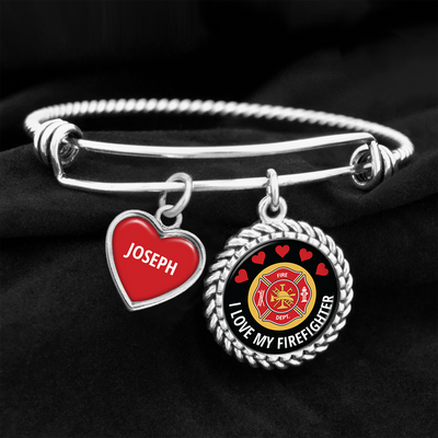 Personalized I Love My Firefighter Charm Bracelet