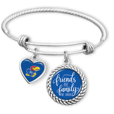 Friends Are Family You Choose Kansas Jayhawks BFF Charm Bracelet