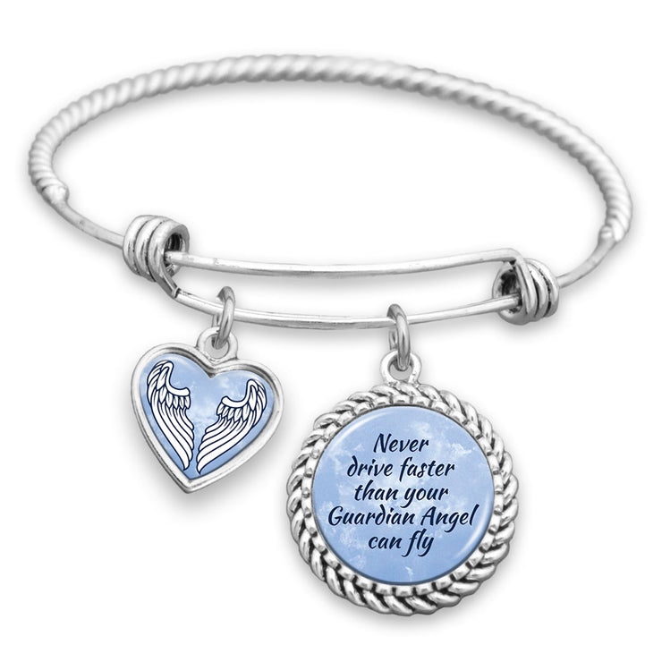 Never Drive Faster Than Your Guardian Angel Can Fly Charm Bracelet