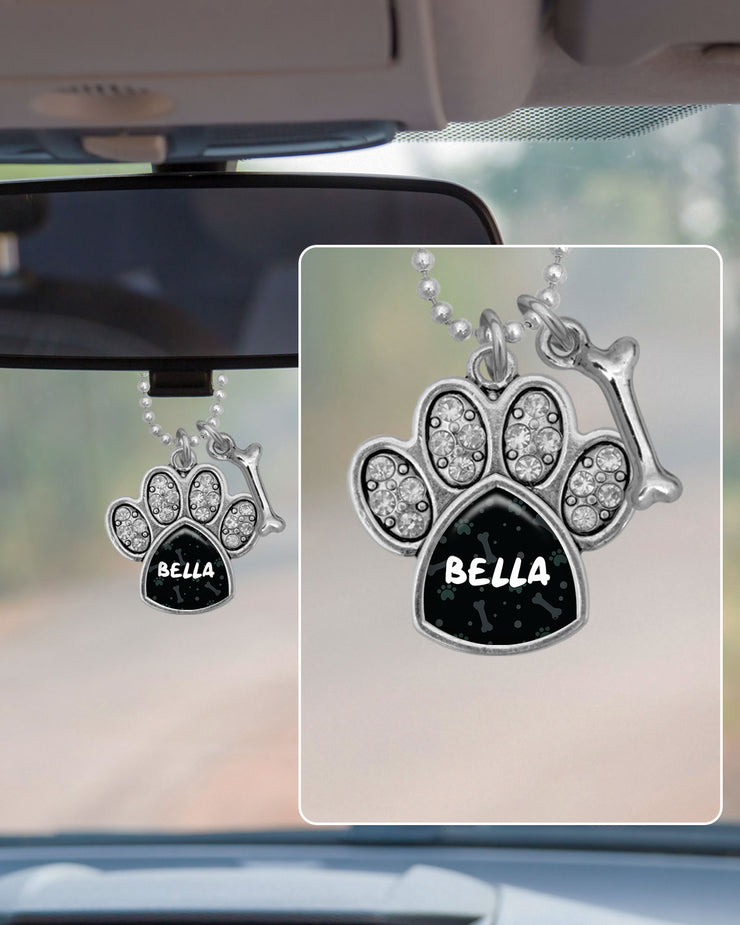 Customizable Pet Name Crystal Paw Rearview Mirror Charm