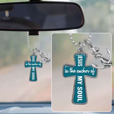 Jesus Is The Anchor Of My Soul Cross Rearview Mirror Charm