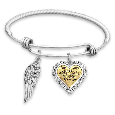 Love Between Mother And Daughter Crystal Wing Engraved Charm Bracelet