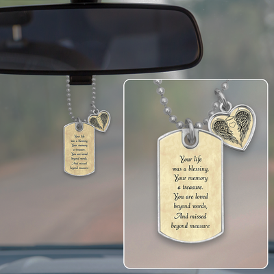 Missed Beyond Measure Dog Tag Rearview Mirror Charm