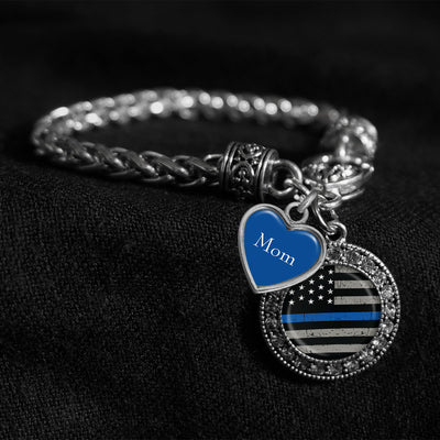 Customizable Thin Blue Line Flag Silver Braided Clasp Charm Bracelet