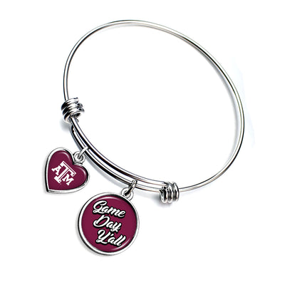 Texas A&M Aggies Game Day Y'all Smooth Bangle Charm Bracelet