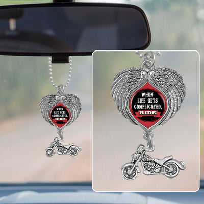 When Life Gets Complicated, Ride Wings Rearview Mirror Charm