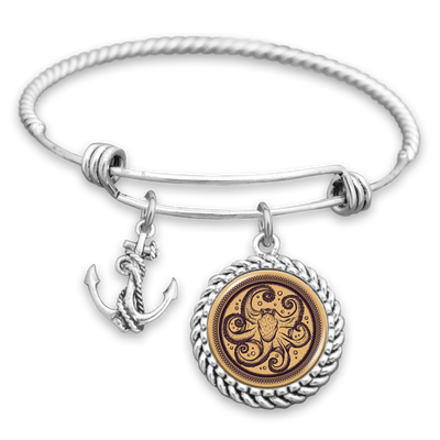 Detailed Octopus Bracelet With Anchor Charm