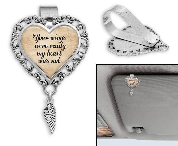 Your Wings Were Ready, My Heart Was Not Heart Auto Visor Clip