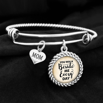 You Walk Beside Me Female Family Member Charm Bracelet