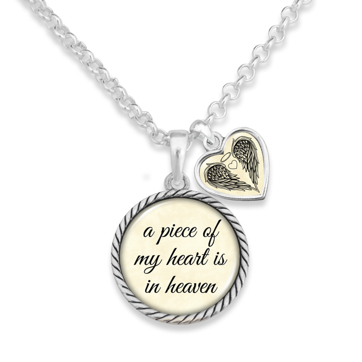 Piece Of My Heart Is In Heaven Heart Charm Necklace