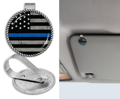 Thin Blue Line Flag Circle Auto Visor Clip
