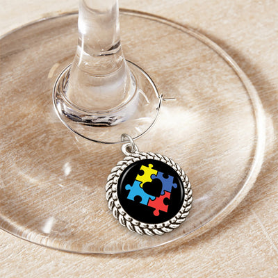 Puzzle Heart Wine Glass Charm