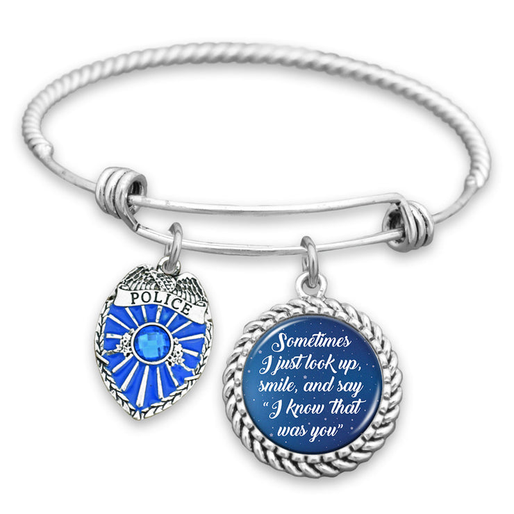 I Know That Was You Night Sky Police Shield Charm Bracelet