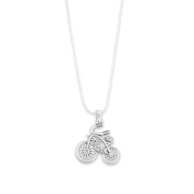 Bicycle Charm Ball Link Heart Necklace