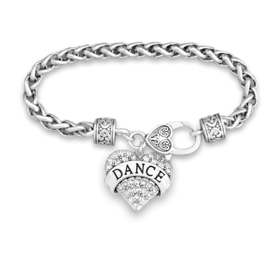 Dance Crystal Heart Silver Braided Clasp Charm Bracelet